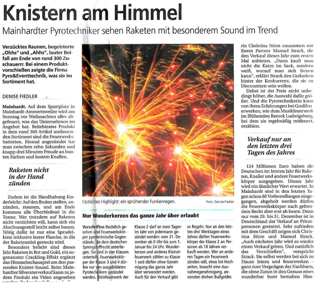 Zeitungsartikel: Knistern am Himmel - Mainhardther Pyrotechniker sehen Raketen mit besonderem Sound im Trend